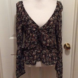 Free People Blouse S Black White Pink Floral